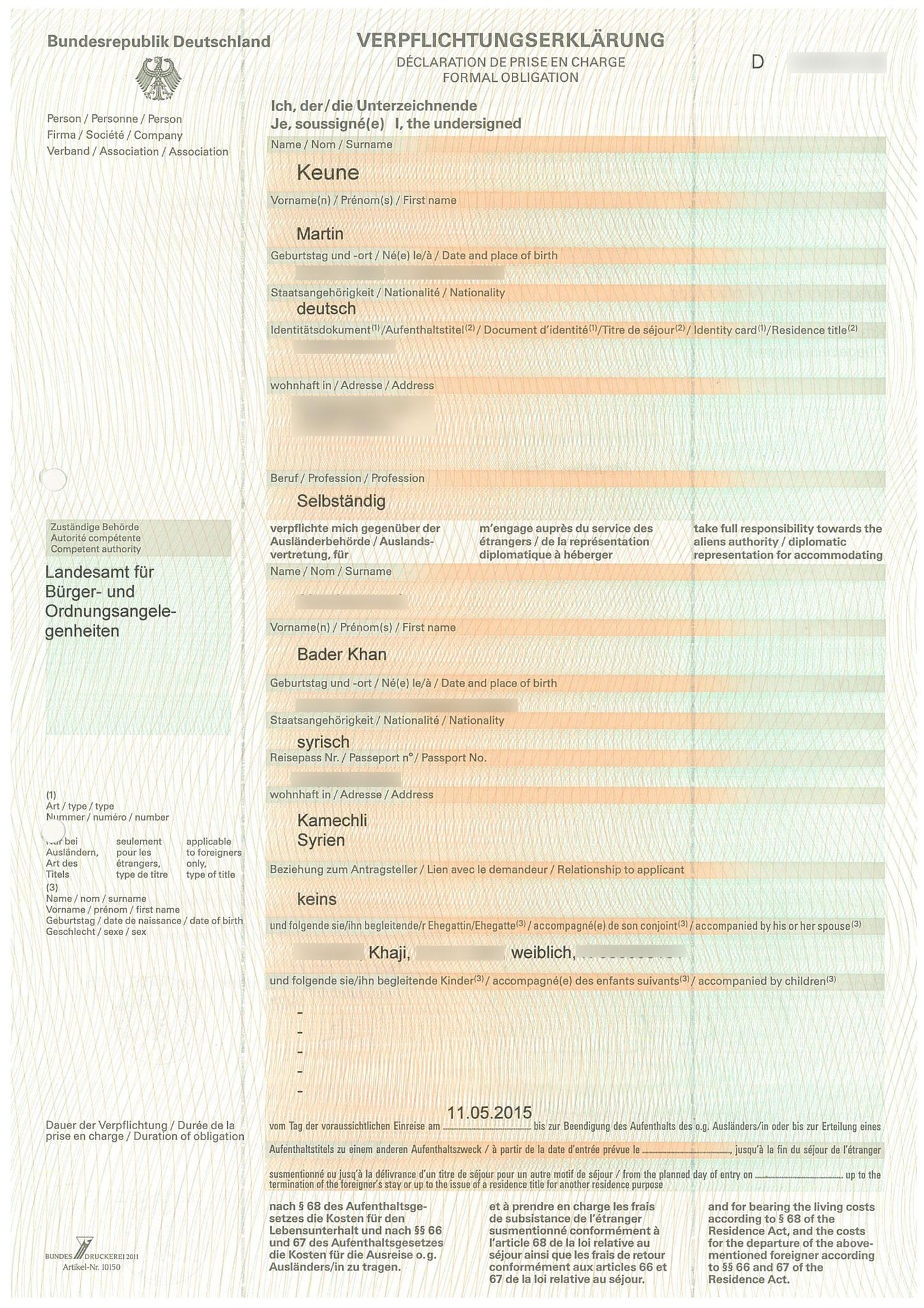 flÜchtlingspaten syrien, Einladung